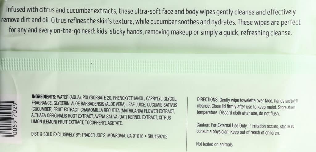Ingredients, product description and how to use Trader Joe's Cucumber and Citrus Face and Body Wipes