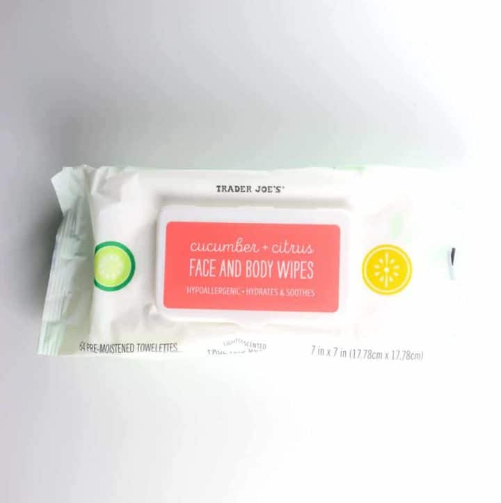 An unopened package of Trader Joe's Cucumber and Citrus Face and Body Wipes