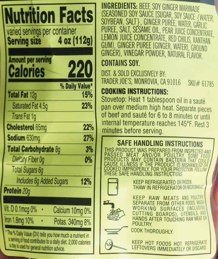 Nutritional information, ingredients and cooking directions for Trader Joe's Ginger Beef Sirloin