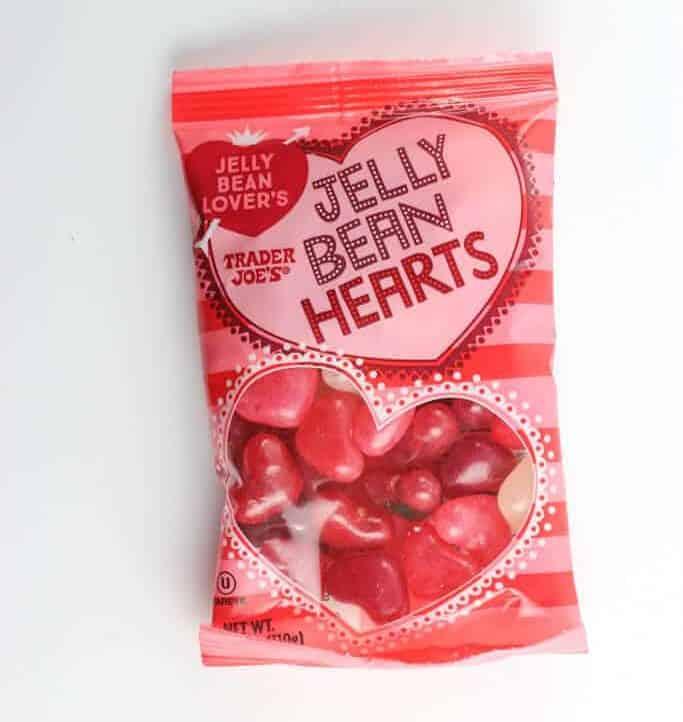 An unopened bag of Trader Joe's Jelly Bean Hearts