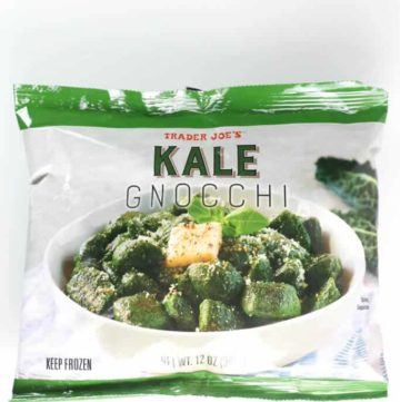 An unopened bag of Trader Joe's Kale Gnocchi