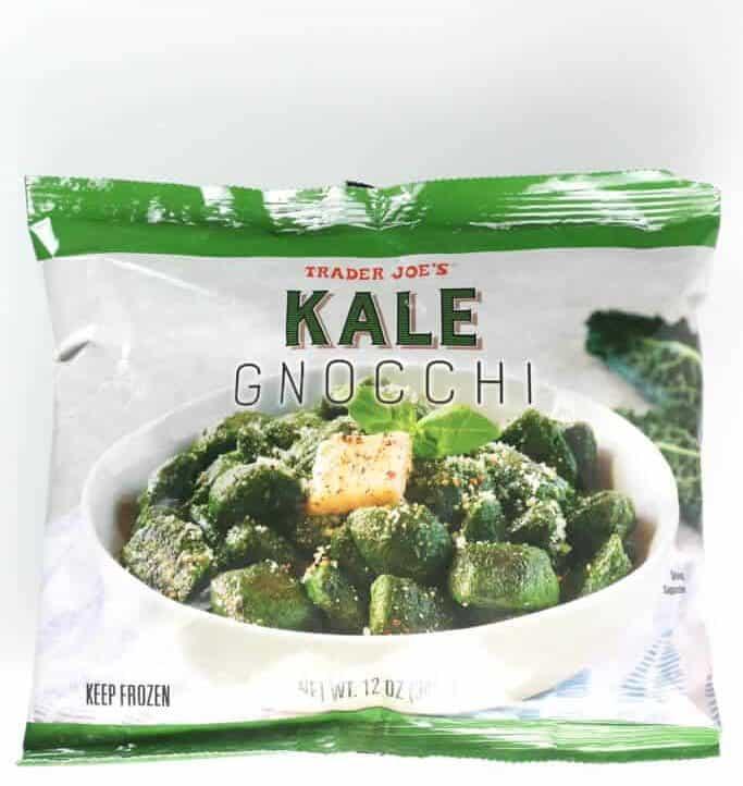 An unopened bag of Trader Joe's Kale Gnocchi