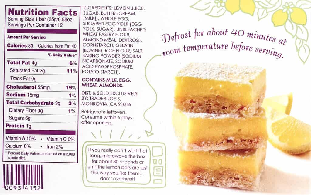 Nutritional facts, ingredients and how to defrost Trader Joe's 12 Classic Lemon Bars