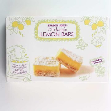 An unopened box of Trader Joe's 12 Classic Lemon Bars