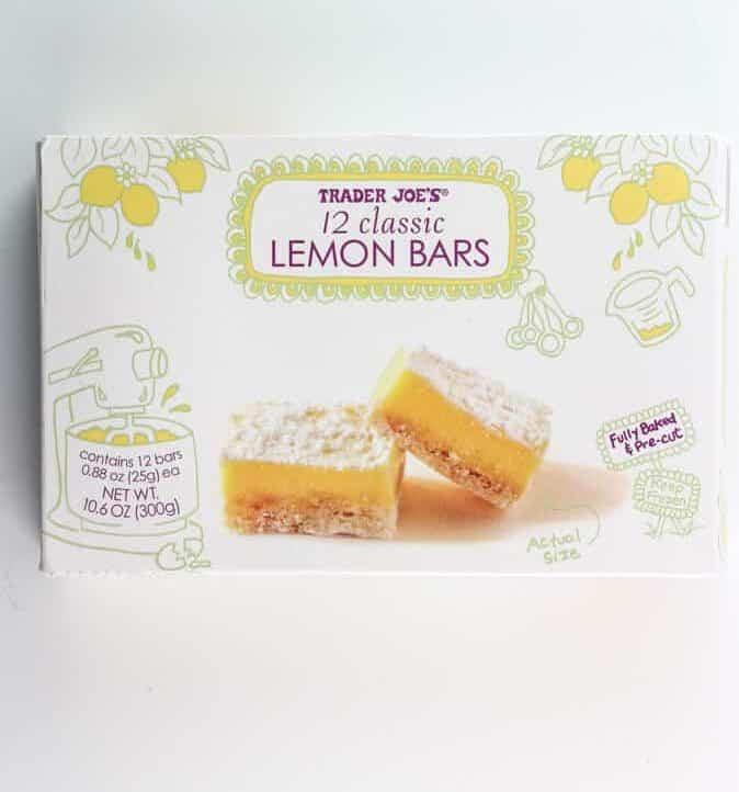 An unopened box of Trader Joe's 12 Classic Lemon Bars