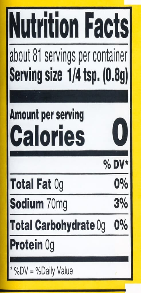 Nutritional facts for Trader Joe's Everything but the Elote Seasoning Blend