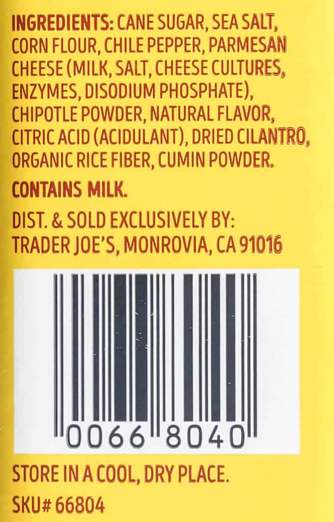 Ingredient list of Trader Joe's Everything but the Elote Seasoning Blend