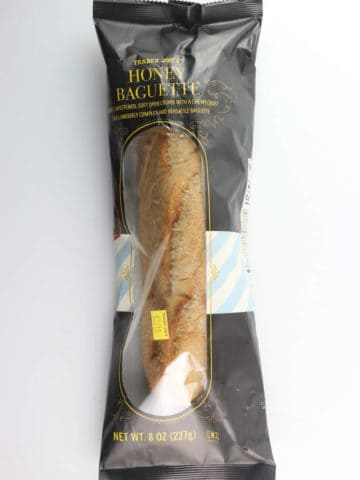 An unopened loaf of Trader Joe's Honey Baguette