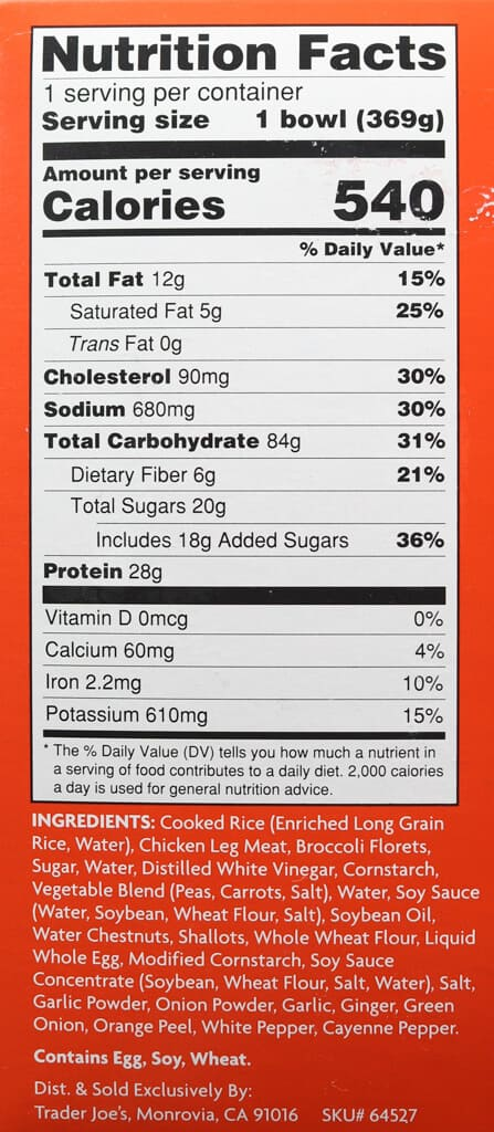 Nutritional facts, ingredients, and calories in Trader Joe's Mandarin Style Orange Chicken Bowl