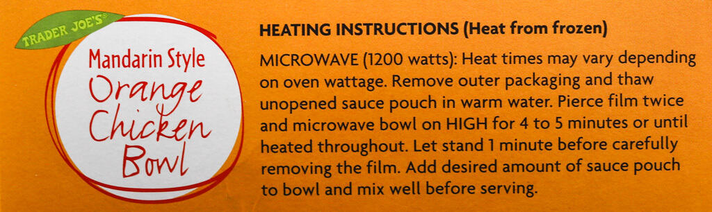 Heating directions for Trader Joe's Mandarin Style Orange Chicken Bowl