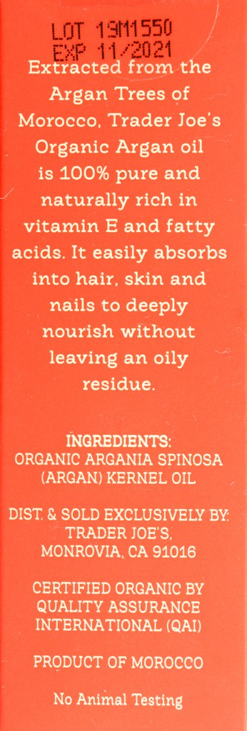 Description and Ingredients in Trader Joe's 100% Organic Argan Oil