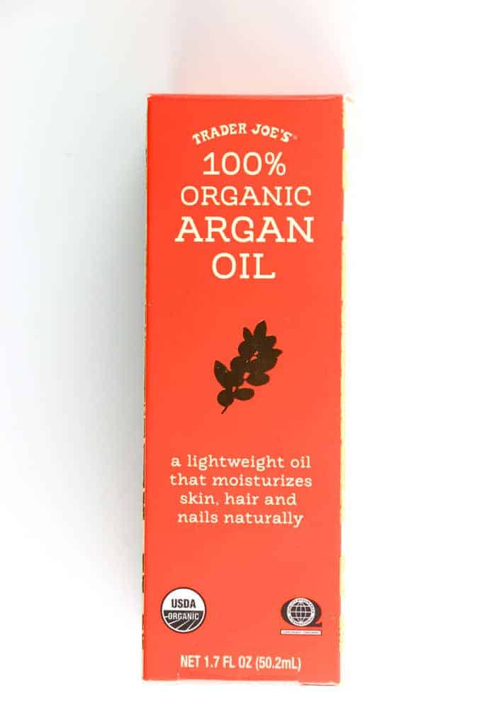 An unopened box of Trader Joe's 100% Organic Argan Oil