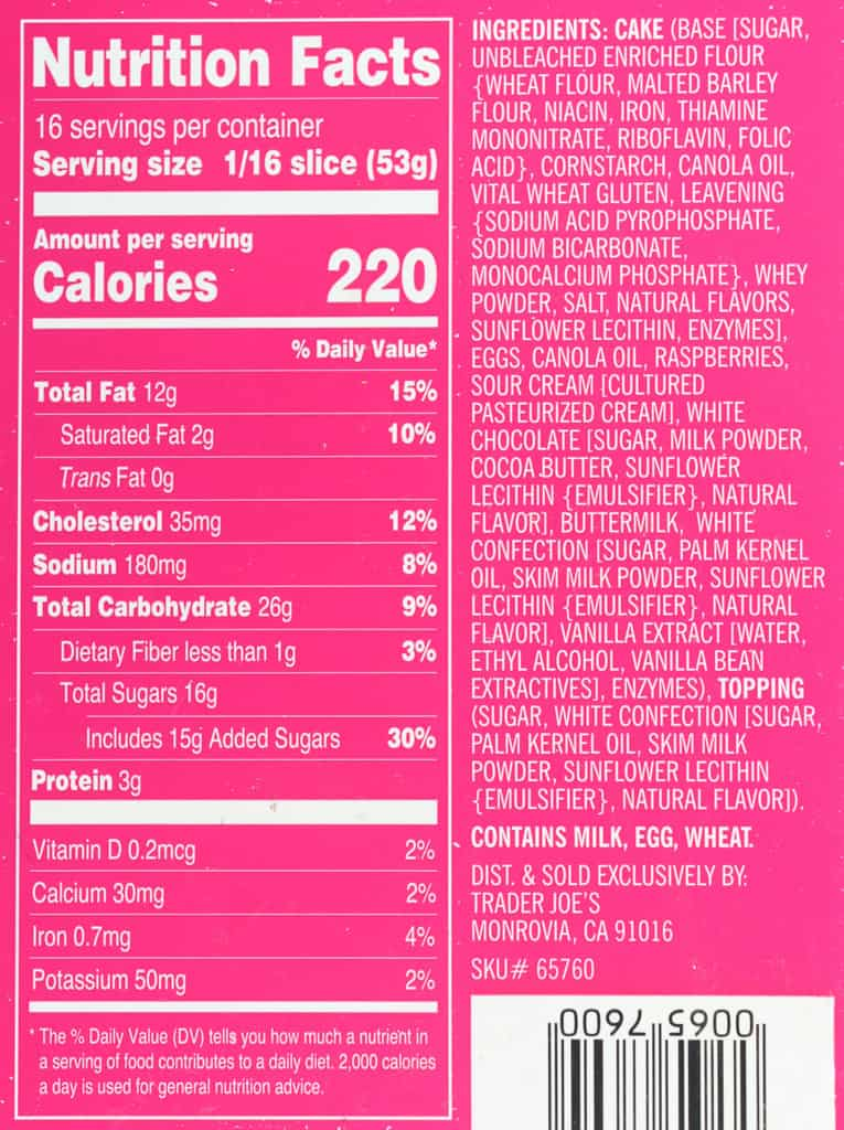 Nutritional facts, calories and ingredients in Trader Joe's Raspberry and White Chocolate Bundt Cake