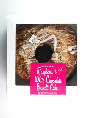 An unopened Trader Joe's Raspberry and White Chocolate Bundt Cake