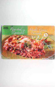 An unopened box of Trader Joe's Roasted Vegetable Multi-Grain Lasagna