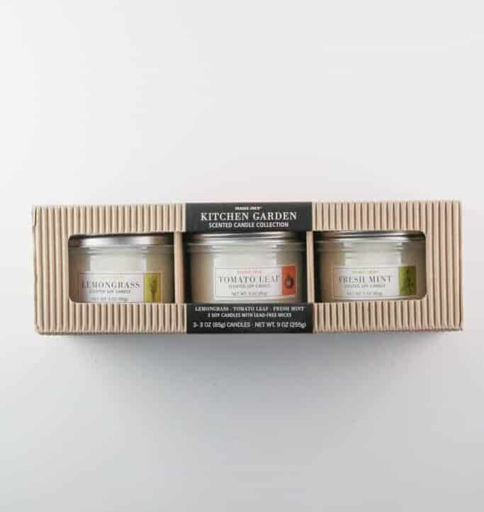 An unopened package of Trader Joe's Kitchen Garden Scented Candle Collection
