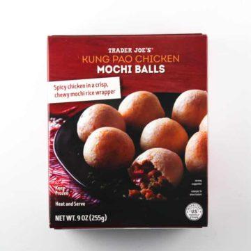 An unopened box of Trader Joe's Kung Pao Chicken Mochi Balls