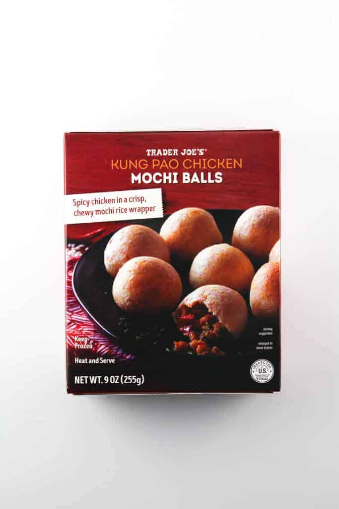 An unopened box of Trader Joe's Kung Pao Chicken Mochi Balls