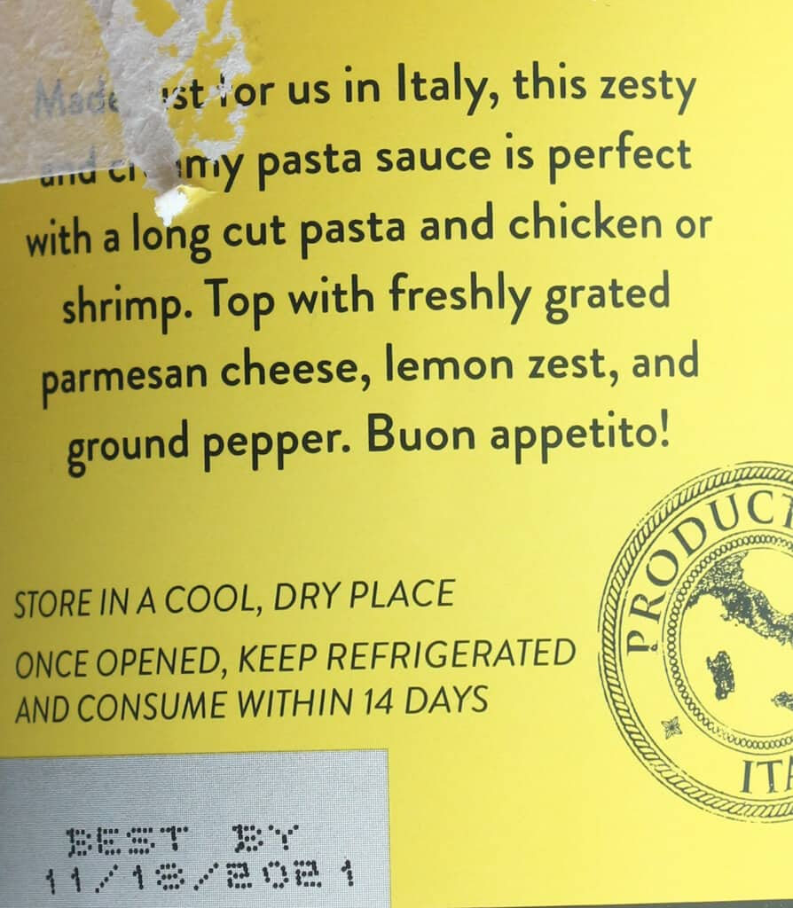 The description of Trader Joe's Limone Alfredo Sauce from the side of the jar