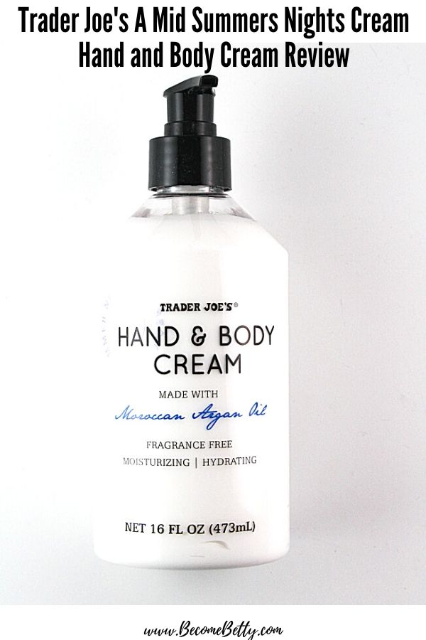 Pinterest image of Trader Joe's A Mid Summers Nights Cream Hand and Body Cream
