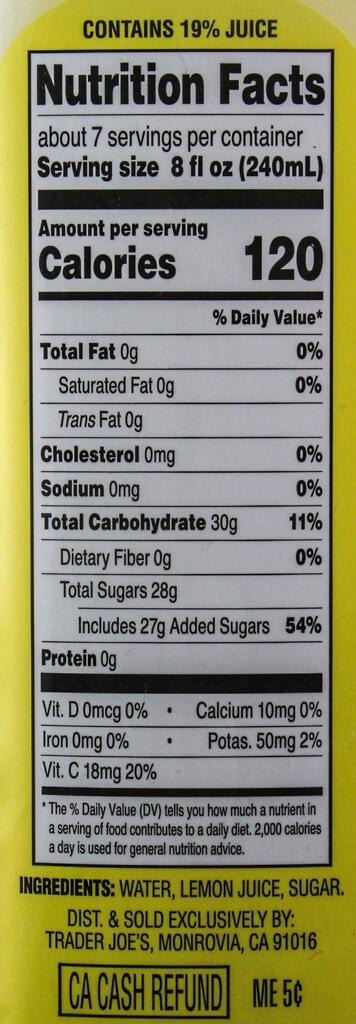 Nutritional information and ingredients in Trader Joe's Freshly Squeezed Lemonade
