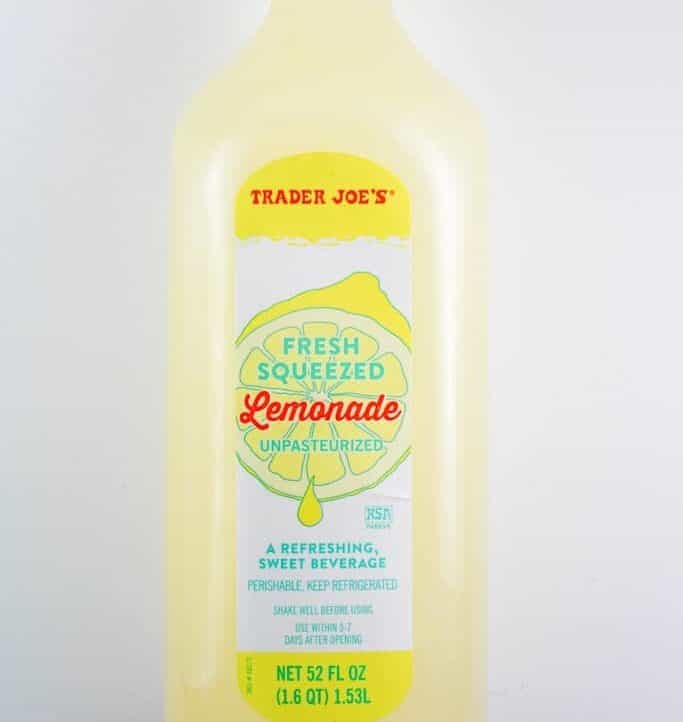 An unopened bottle of Trader Joe's Freshly Squeezed Lemonade