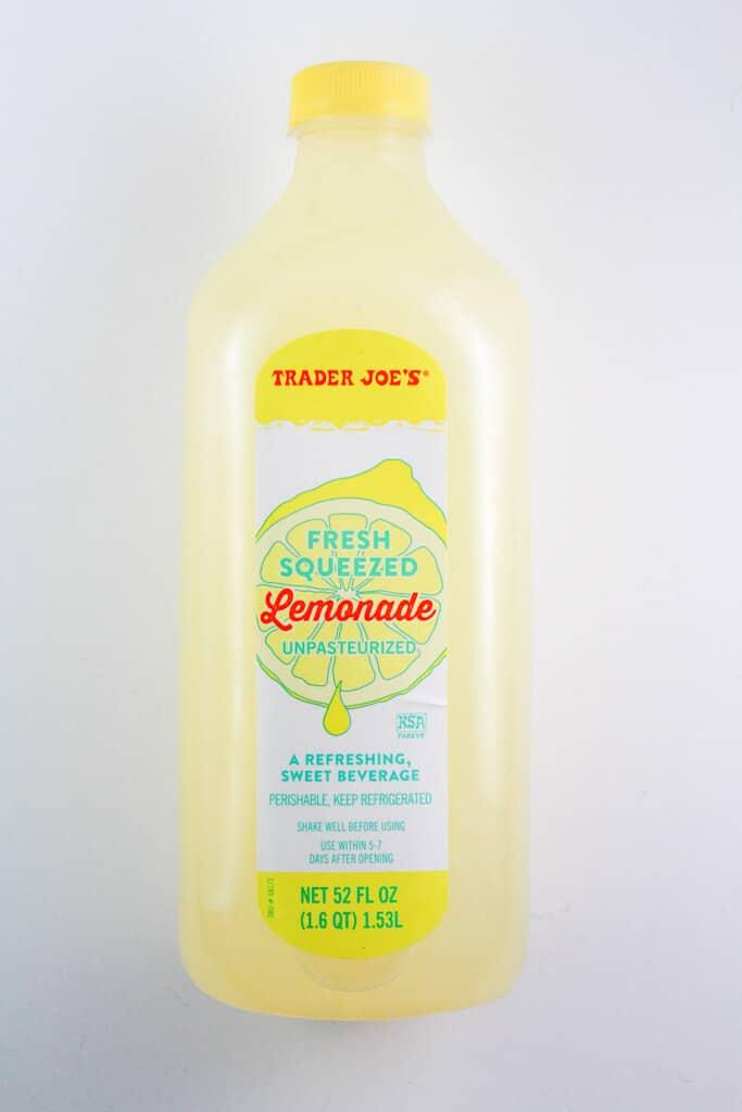 An unopened bottle of Trader Joe's Freshly Squeezed Lemonade