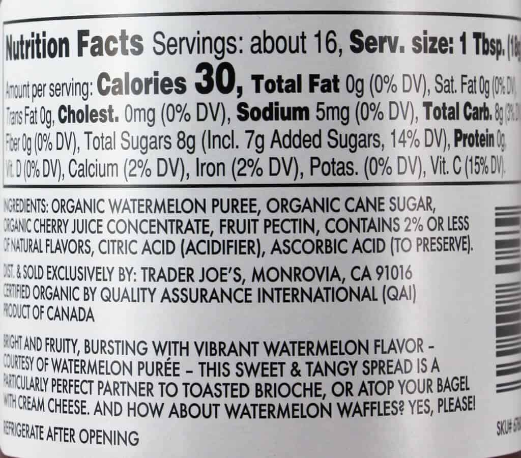 Nutritional facts and ingredients in Trader Joe's Organic Watermelon Fruit Spread