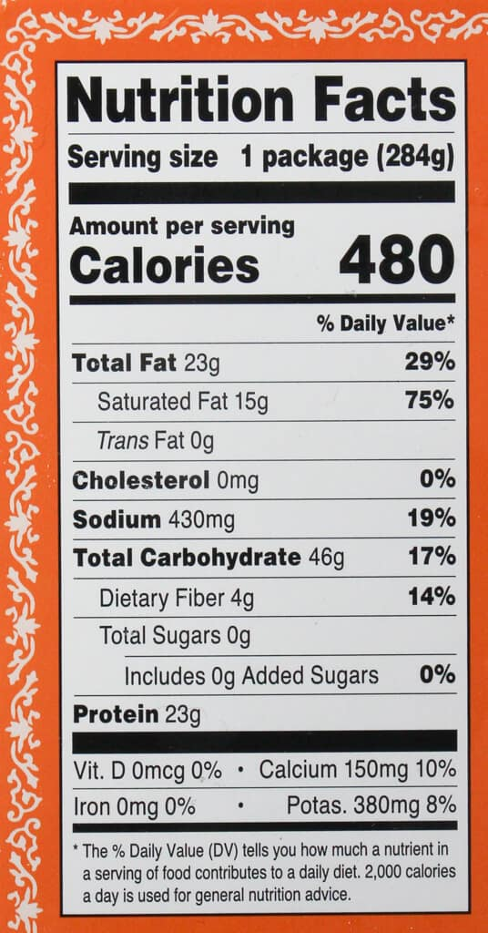 Nutritional facts in Trader Joe's Shrimp Tikka Masala