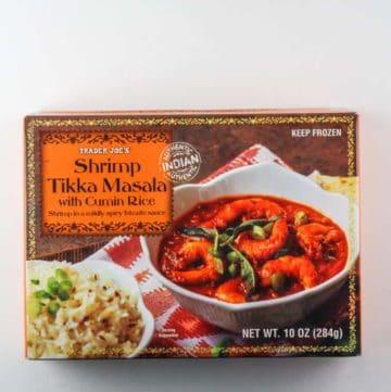 An unopened box of Trader Joe's Shrimp Tikka Masala
