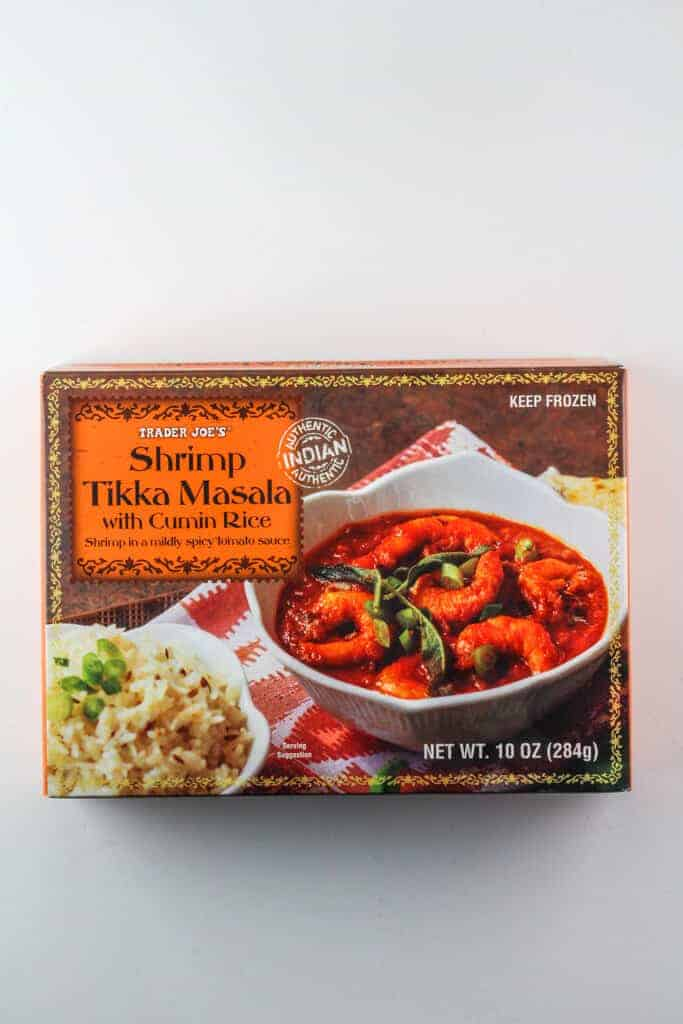 An unopened box of Trader Joe's Shrimp Tikka Masala