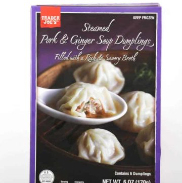 An unopened box of Trader Joe's Steamed Pork and Ginger Soup Dumplings