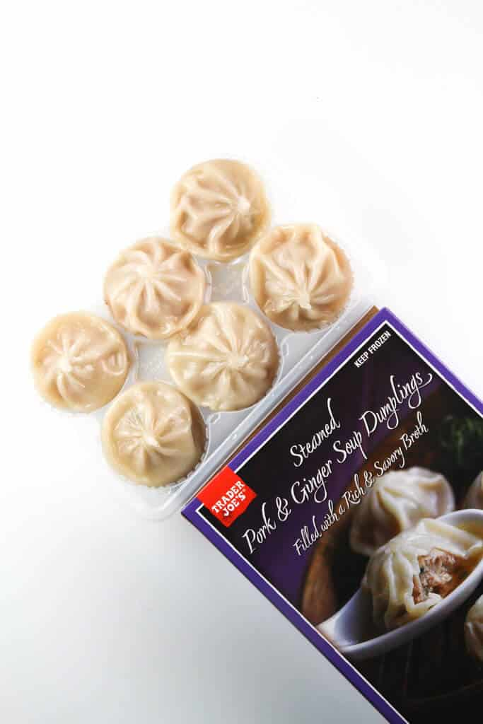 A box of fully cooked Trader Joe's Steamed Pork and Ginger Soup Dumplings