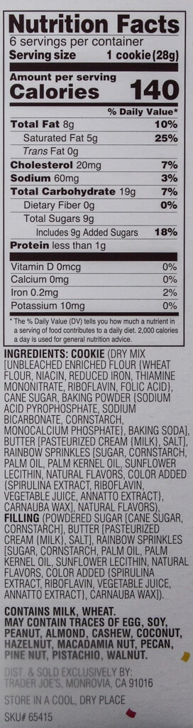 Nutritional facts and ingredients in Trader Joe's These Sprinkles Walk Into a Sandwich Cookie