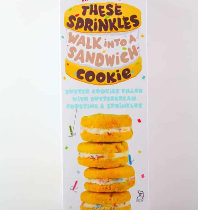 An unopened box of Trader Joe's These Sprinkles Walk Into a Sandwich Cookie