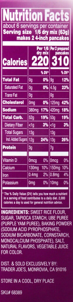 Nutritional facts and ingredient list in Trader Joe's Ube Mochi Pancake Mix