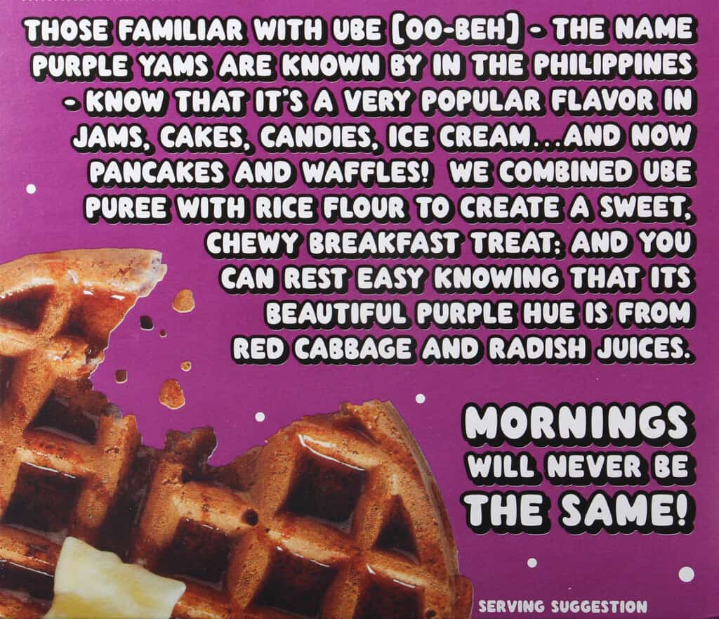 The description of the product on the box of Trader Joe's Ube Mochi Pancake Mix