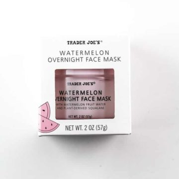 An unopened box of Trader Joe's Watermelon Overnight Face Mask on a white surface