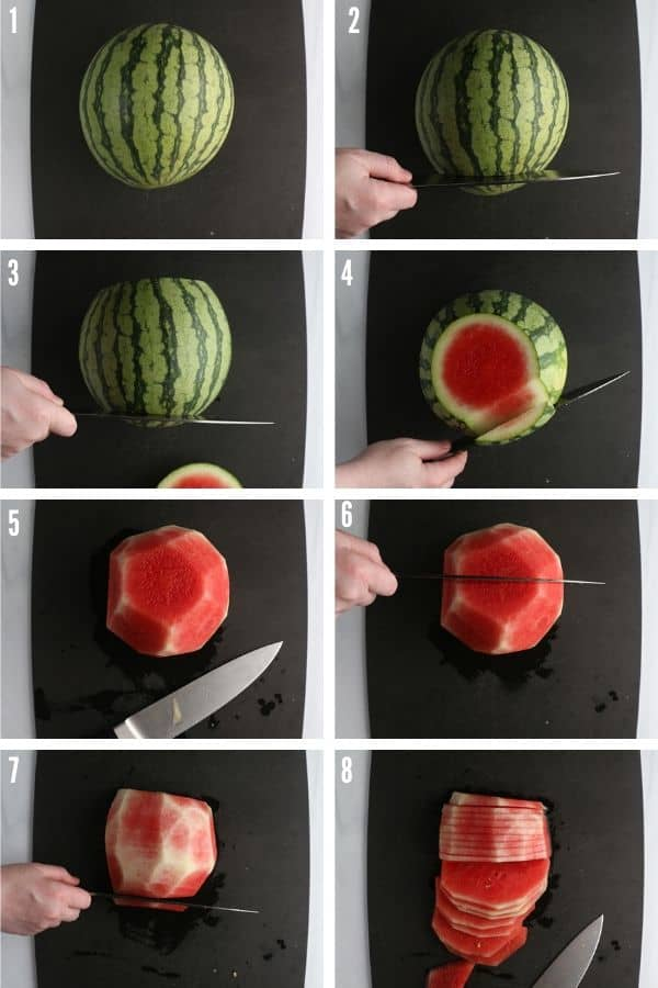 Knife cuts for cutting a watermelon properly