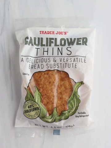 An unopened bag of Trader Joe's Cauliflower Thins