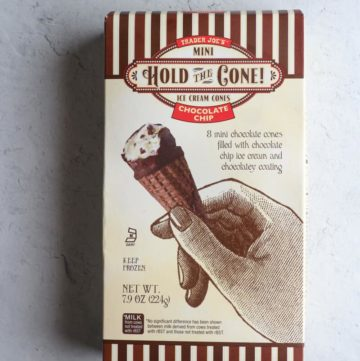 An unopened box of Trader Joe's Mini Hold the Cone Chocolate Chip Ice Cream Cones
