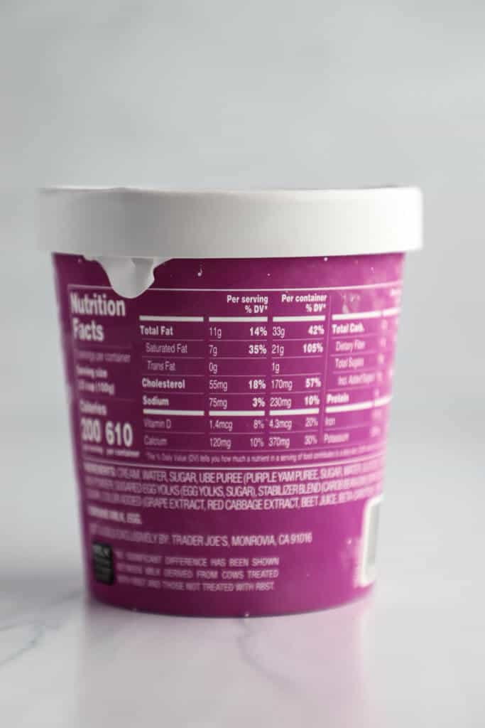 Nutritional facts and Ingredients in Trader Joe's Ube Ice Cream