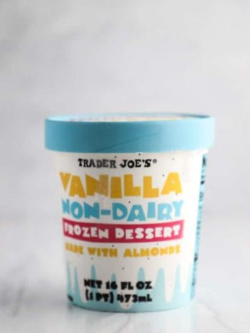 An unopened container of Trader Joe's Vanilla Non Dairy Frozen Dessert