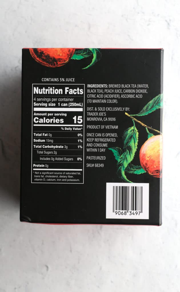 The nutritional facts from the box of Trader Joe's Sparkling Black Tea with Peach Juice