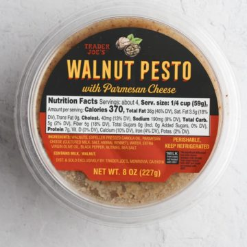 An unopened package of Trader Joe's Walnut Pesto