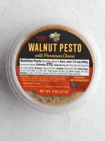 An unopened package of Trader Joe's Walnut Pesto