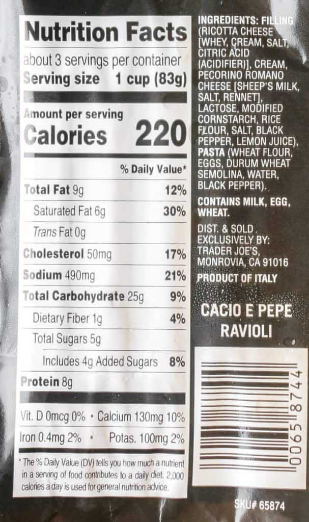 Nutritional facts and ingredients in Trader Joe's Cacio e Pepe Ravioli