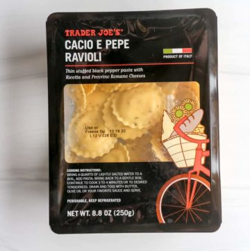 An unopened package of Trader Joe's Cacio e Pepe Ravioli