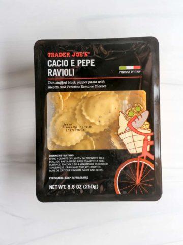 An unopened package of Trader Joe's Cacio e Pepe Ravioli