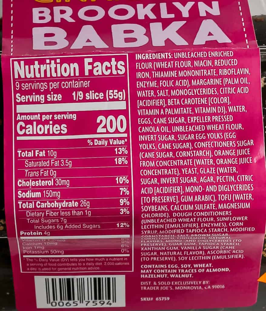 Ingredients and nutritional facts in Trader Joe's Cinnamon Brooklyn Babka